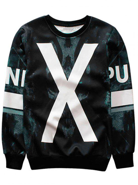 new X Graphic Crew Neck Sweatshirt - BLACK M