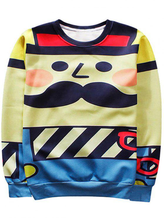 Sweat-shirt Ras du Cou Homme Imprimé Cartoon - Multicolore M