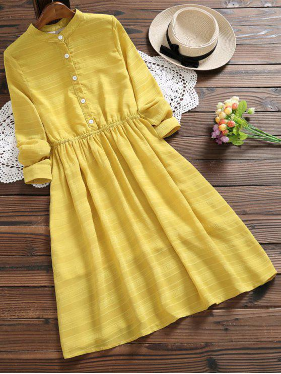 affordable Half Button Striped Flare Dress - MUSTARD M