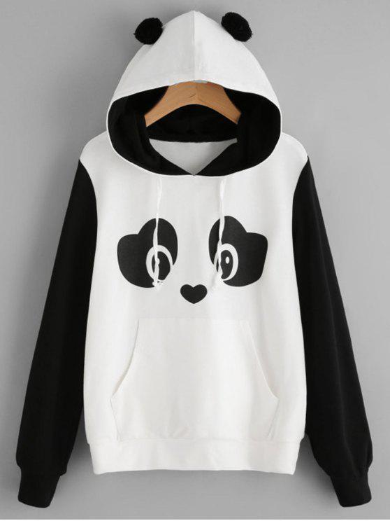 women's Panda Face Kangaroo Pocket Hoodie - BLACK WHITE S
