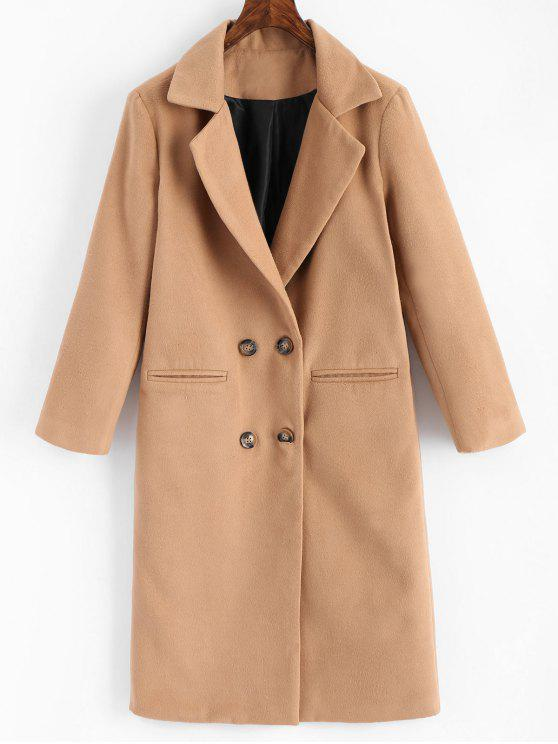outfit Double Breasted Lapel Coat with Pockets - LIGHT CAMEL M
