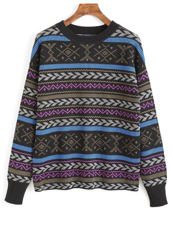 outfit Crew Neck Graphic Sweater - MULTI ONE SIZE(FIT SIZE XS TO M)