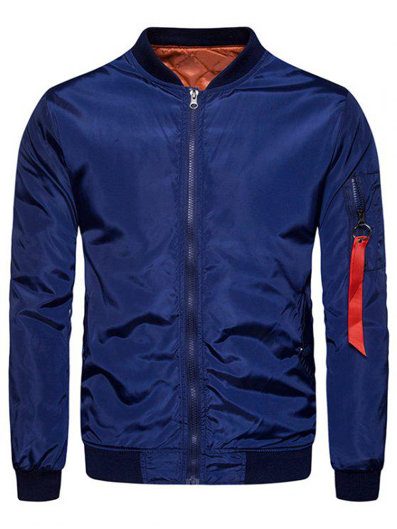 sale Stand Collar Zip Up Padded Bomber Jacket - DEEP BLUE L