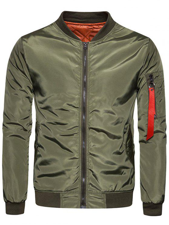 ladies Stand Collar Zip Up Padded Bomber Jacket - ARMY GREEN XL