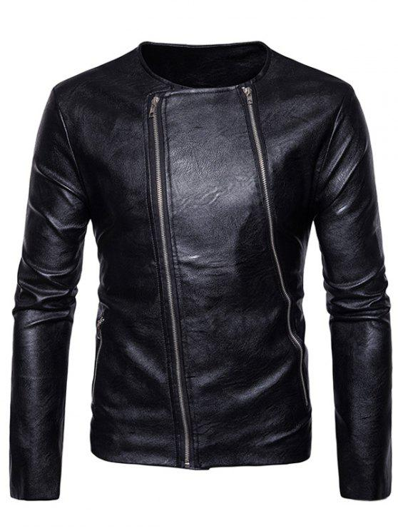 outfits Crew Neck Double Zippers PU Leather Jacket - BLACK M