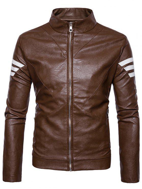 ladies Stripe Embellished Zip Up PU Leather Jacket - BROWN L