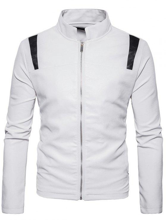 women Color Block Panel PU Leather Zip Up Jacket - WHITE M