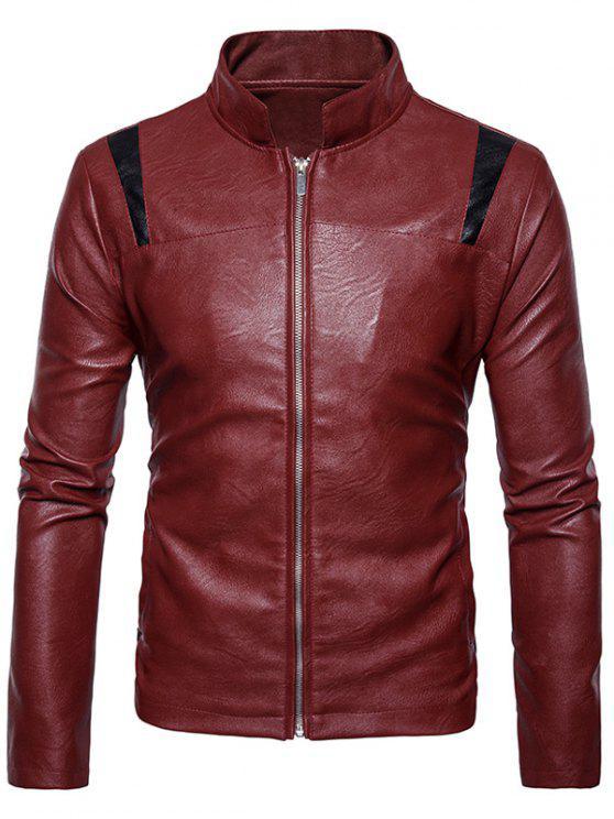 Farbblock-Panel PU-Lederjacke mit Reißverschluss - Rot XL