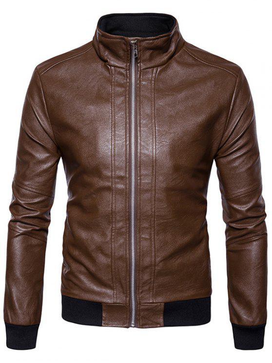 women's Rib Panel Design Zip Up PU Leather Jacket - BROWN S