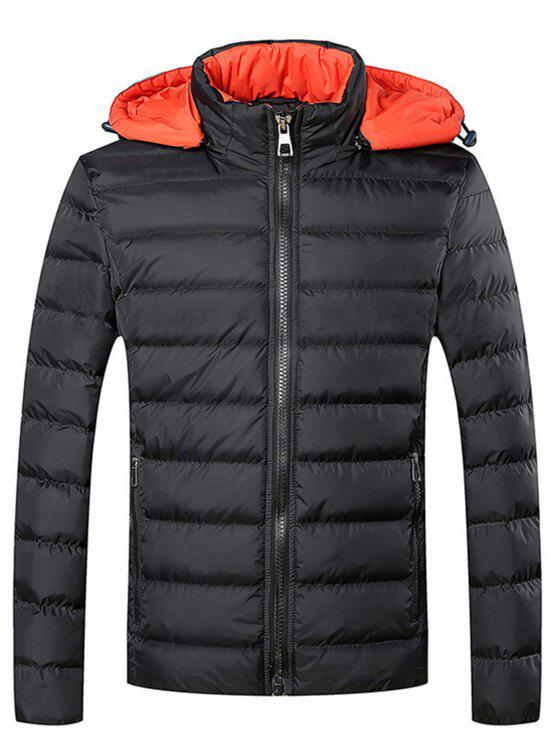 latest Hooded Zip Front Padded Jacket - BLACK L