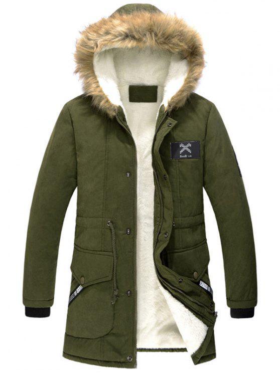 Giacca a paracadute con cappuccio a tasca con zip - Verde Dell'esercito 3XL