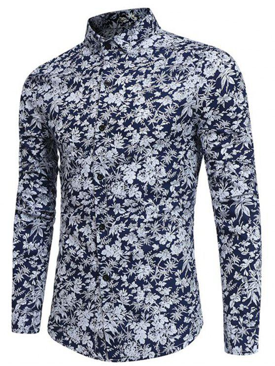 best Long Sleeve Tiny Floral Printed Shirt - CADETBLUE XL
