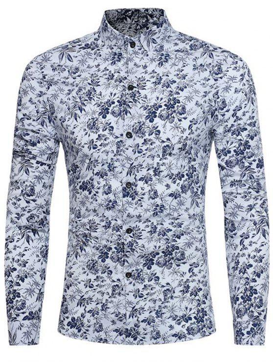 Camisa estampada floral minúscula de manga larga - Blanco 3XL