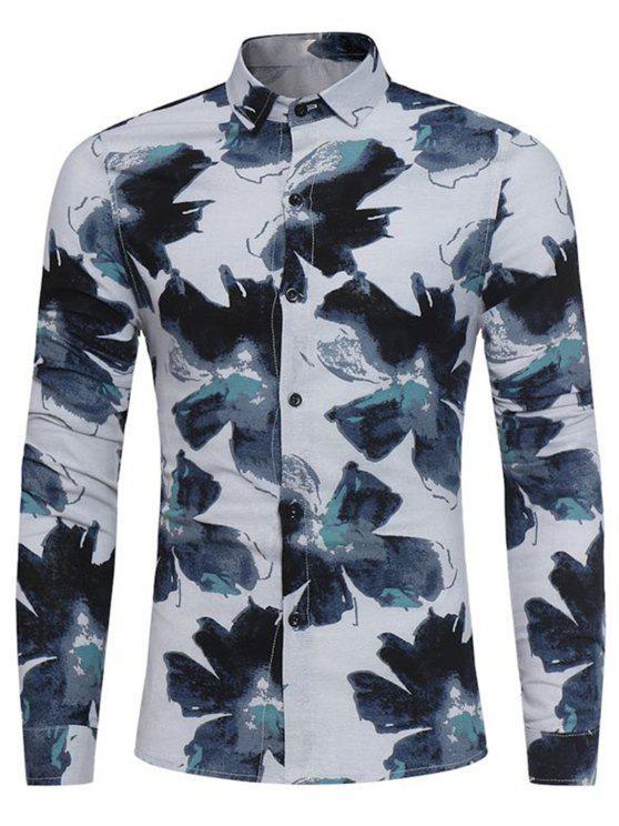 shop Floral Painting Print Cotton Linen Shirt - BLUE 2XL