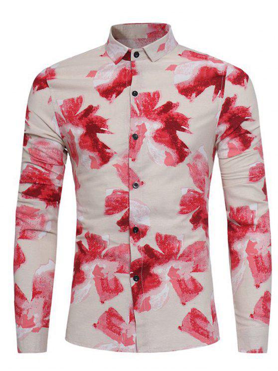 unique Floral Painting Print Cotton Linen Shirt - RED 3XL