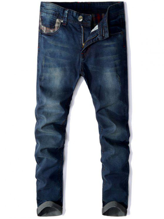 Straight Leg Panel Jeans Design - Azul Escuro 36