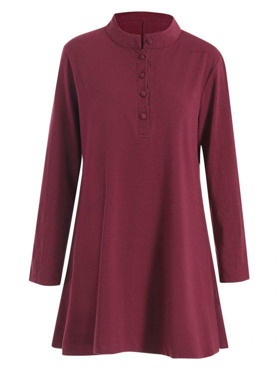 2018 Plus Size Half Button Tunic Skater Dress In Wine Red 5xl Zaful