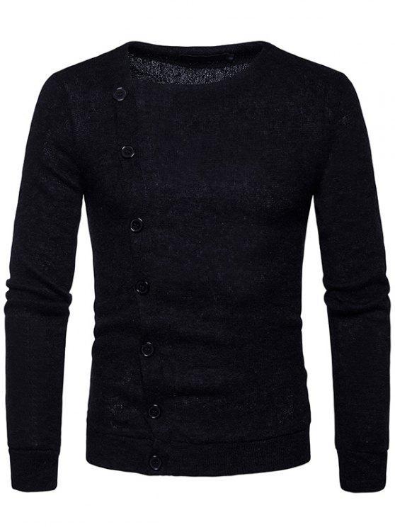 Cardigan con bottoni obliqui lavorati a maglia - Nero XL