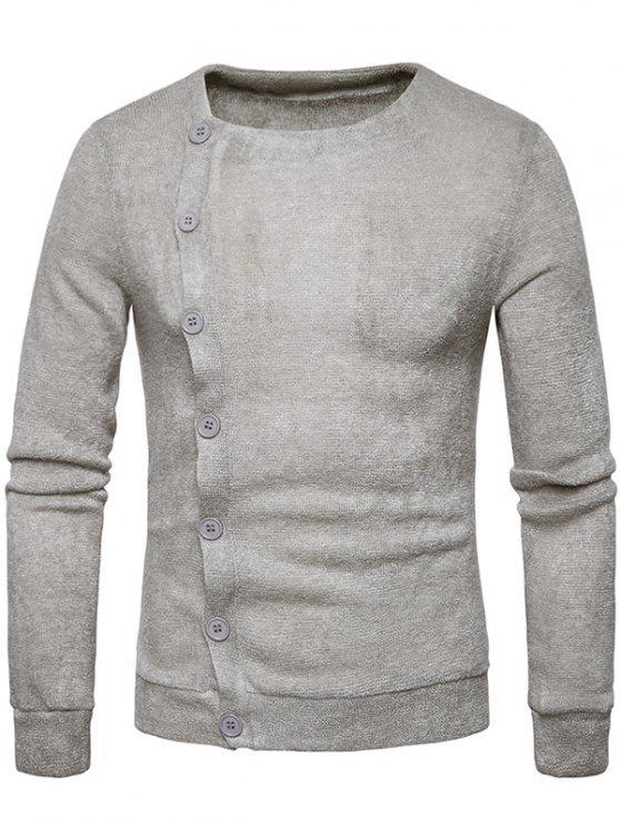 Cardigan con bottoni obliqui lavorati a maglia - Grigio Chiaro XL