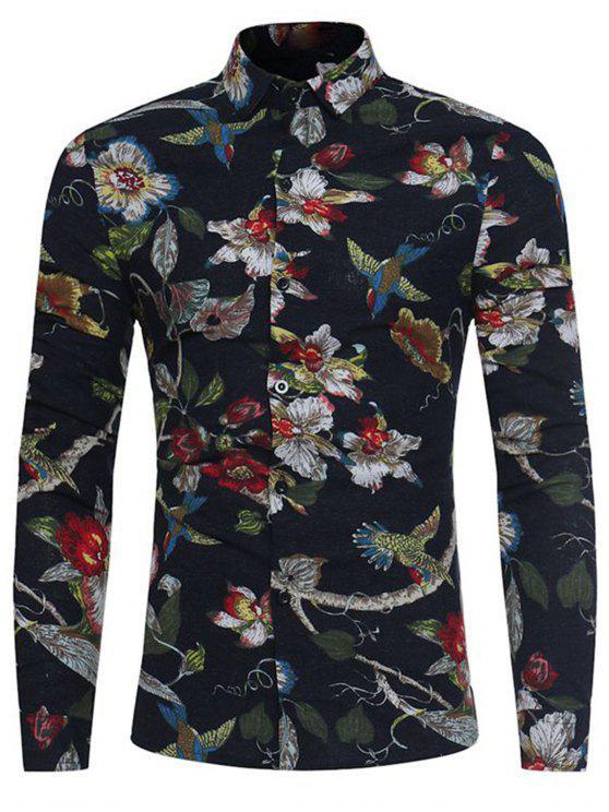 affordable 3D Florals Birds Print Cotton Linen Shirt - BLACK L