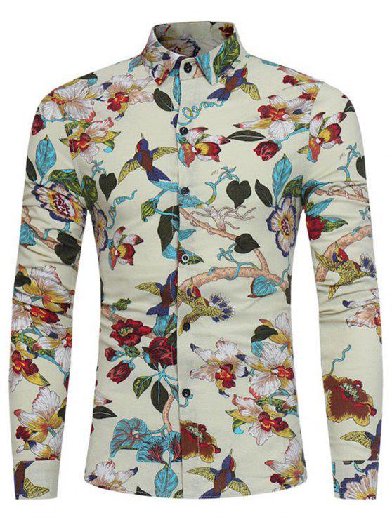 قميص الطيور الأزهار طباعة  القطن الكتان ثلاثي الابعاد - أبيض فاتح L