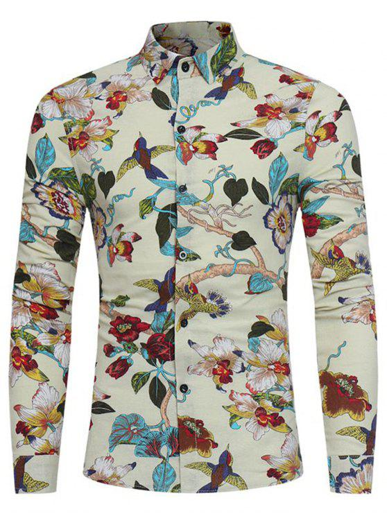 latest 3D Florals Birds Print Cotton Linen Shirt - OFF-WHITE 3XL