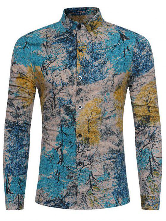 Bunte Pflanzen Tie Dye Print Baumwolle Leinenhemd - Meeresblau 2XL