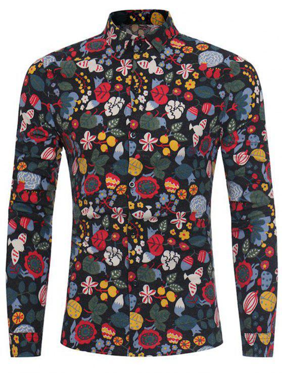 fashion Cartoon Florals Print Cotton Linen Shirt - BLACK 3XL