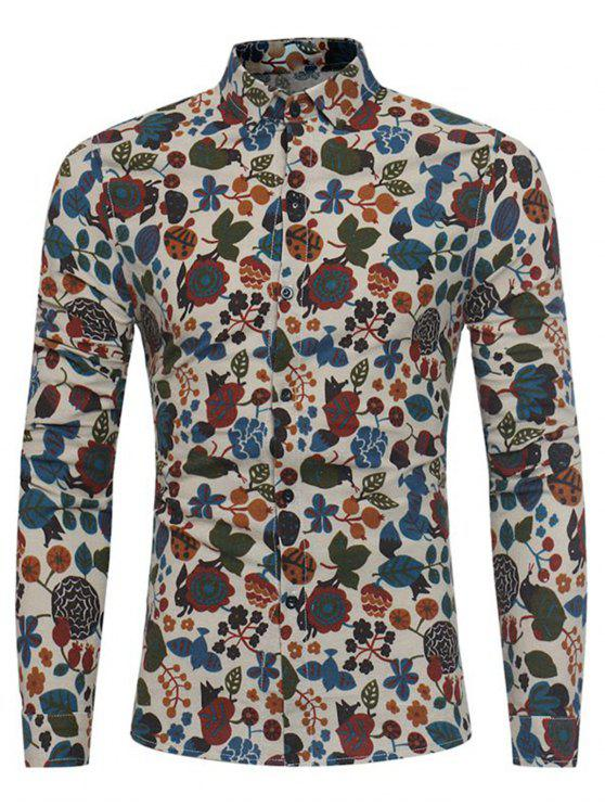 Camisa de lino de algodón con estampado de flores de dibujos animados - Caqui XL