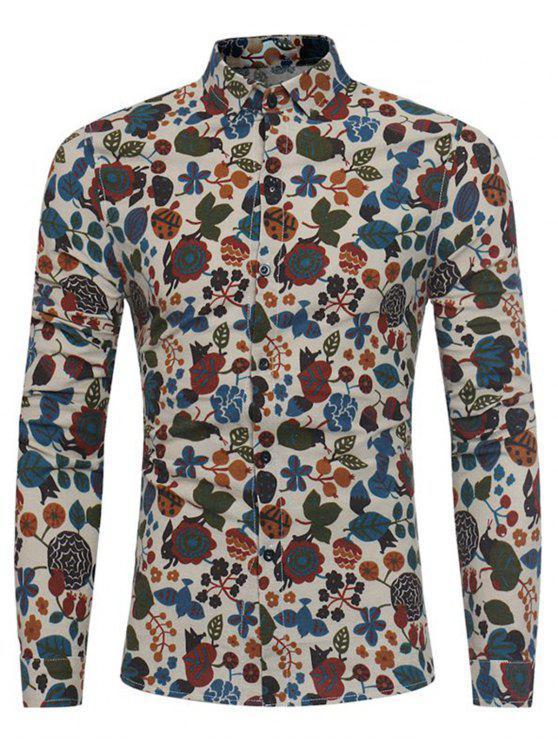 affordable Cartoon Florals Print Cotton Linen Shirt - KHAKI XL