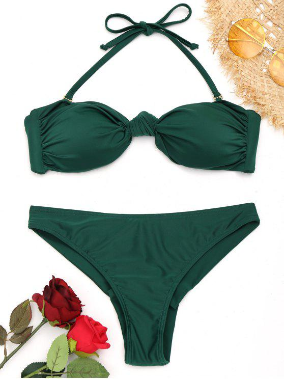 trendy Knotted Halter Bikini Set - GREEN S