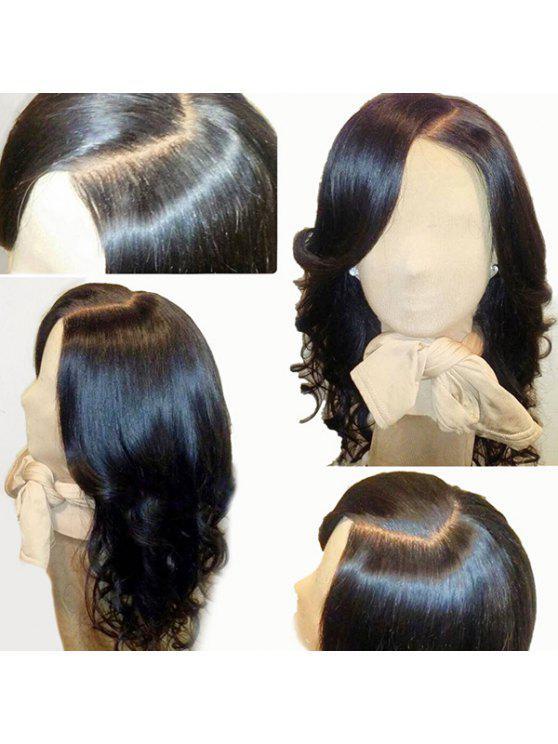 الجانب الأوسط فراق فضفاض موجة الدانتيل الجبهة شعر مستعار الإنسان - الأسود الطبيعي