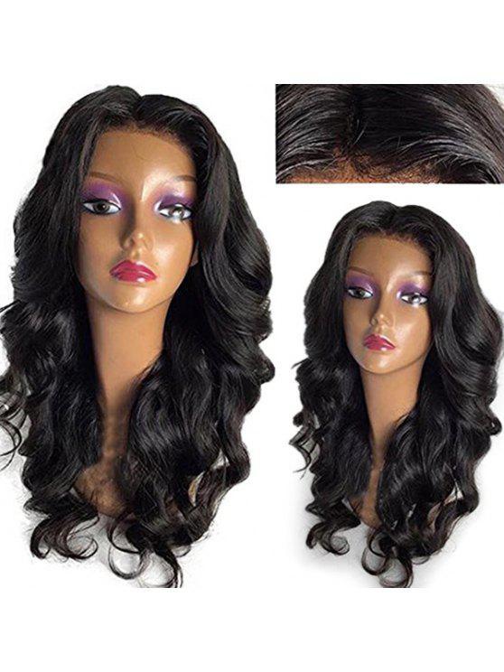 مركز منتصف فراق فضفاض موجة الدانتيل الجبهة شعر مستعار الإنسان - أسود طبيعي