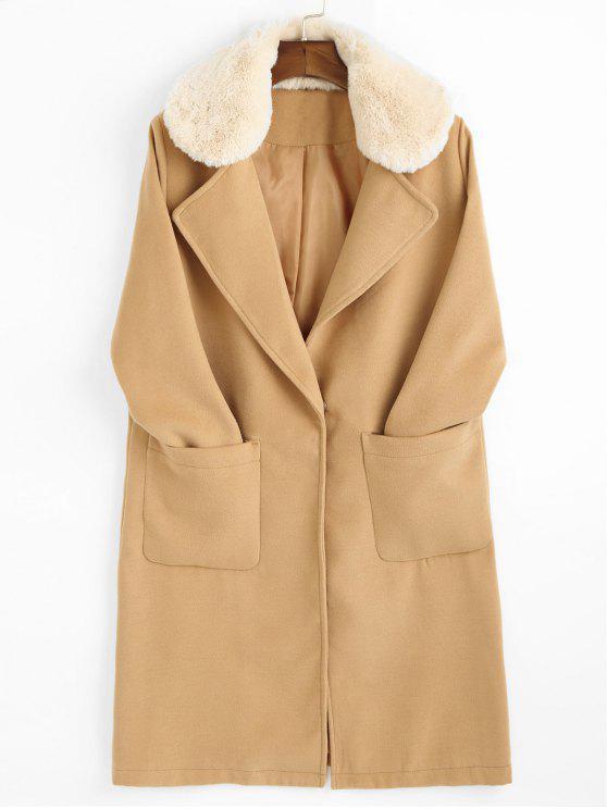 women Faux Fur Trim Lapel Coat with Pockets - CAMEL M