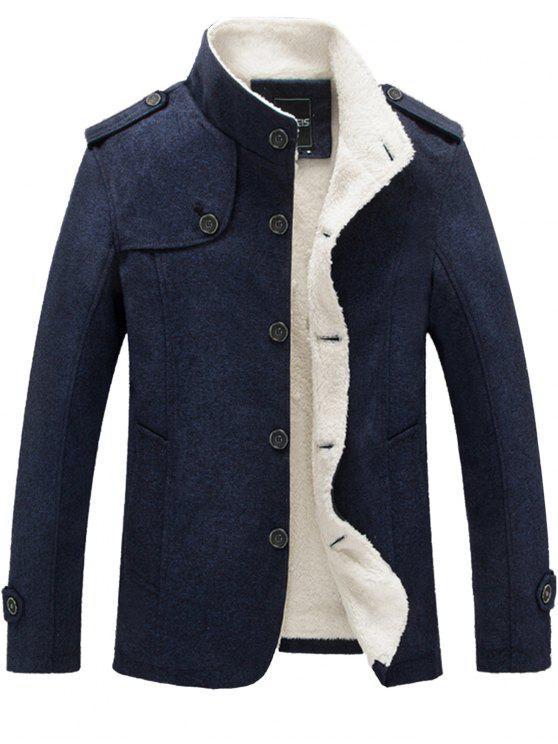 hot Epaulet Faux Shearling Single Breasted Jacket - BLUE 3XL