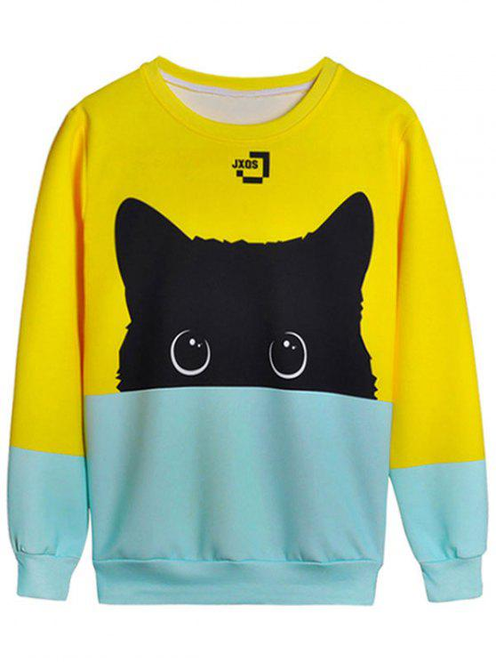 latest Cat Graphic Color Block Sweatshirt - YELLOW M
