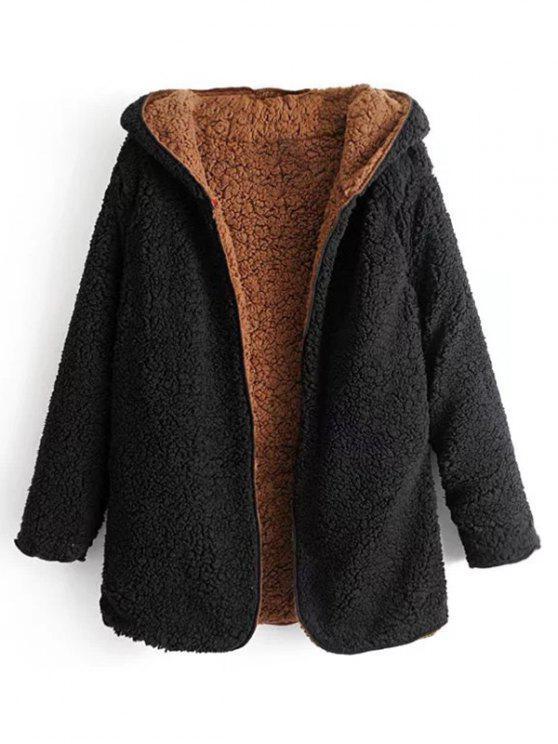 best Hooded Open Front Lamb Wool Teddy Coat - BLACK L