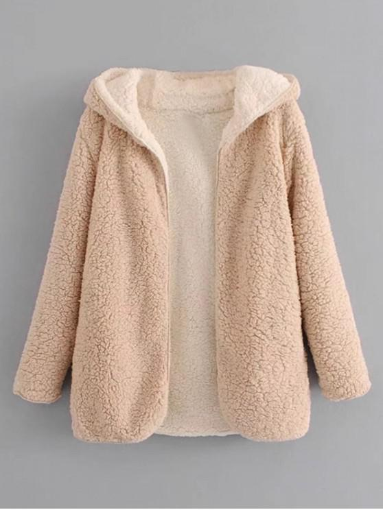 Abrigo de peluche de lana de cordero de frente abierto con capucha - Albaricoque L