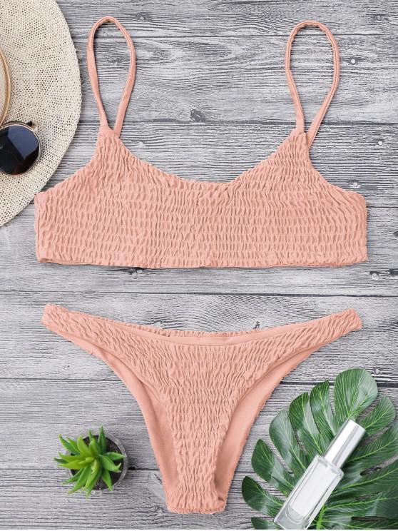 trendy Smocked Bikini Top and Bottoms - PINK S