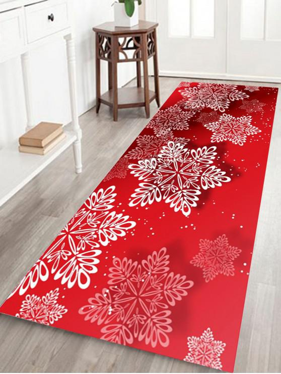 women's Christmas Snowflakes Pattern Water Absorption Area Rug - RED W24 INCH * L71 INCH