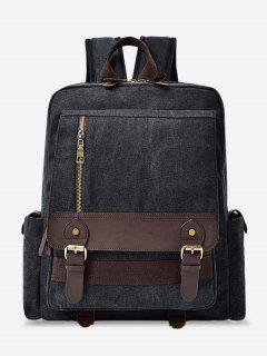 Color Block Double Buckle Straps Backpack - Black