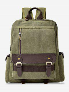 Color Block Double Buckle Straps Backpack - Green