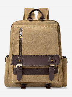 Color Block Double Buckle Straps Backpack - Khaki