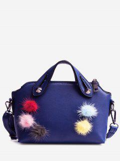 Multi Colors Faux Leather Pompoms Handbag - Blue