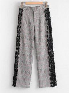 Checked Lace Panel Wide Leg Pants - Checked L