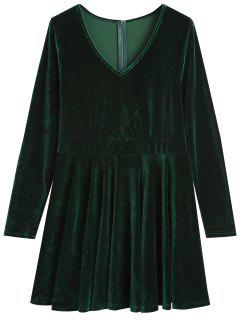 Mini Vestido De Terciopelo Con Cuello En V - Verde Negruzco S