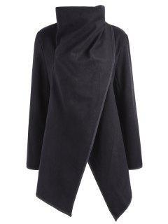 Contrasting Wrap Collar Wool Blend Coat - Black M