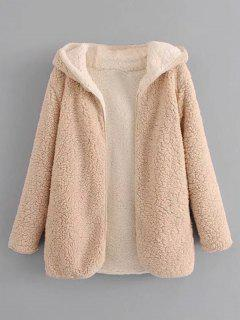 Hooded Open Front Lamb Wool Coat - Apricot S