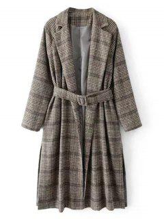 Belted Checked Slit Wool Blend Coat - Checked L