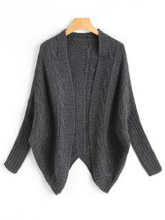 Dolman Sleeve Asymmetric Cable Knit Cardigan - Deep Gray